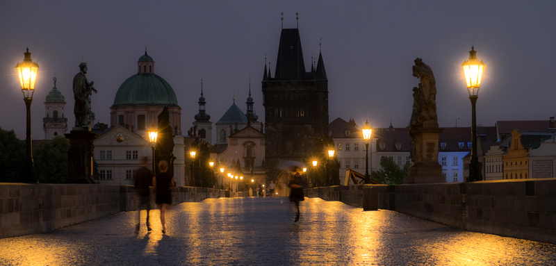 Charles Bridge Dawn in the Rain